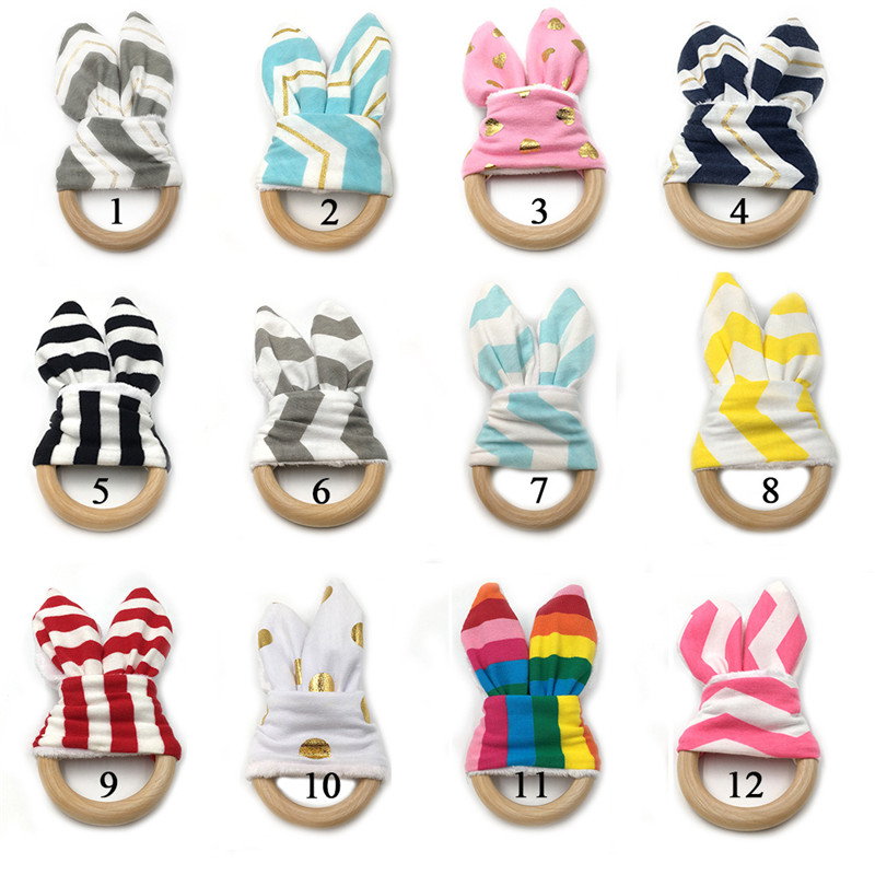 New 1PCS Christmas Baby Bunny Ear Teething Ring Safety Wooden Teether For Children Kids Baby Care Accessory Shower Gifts