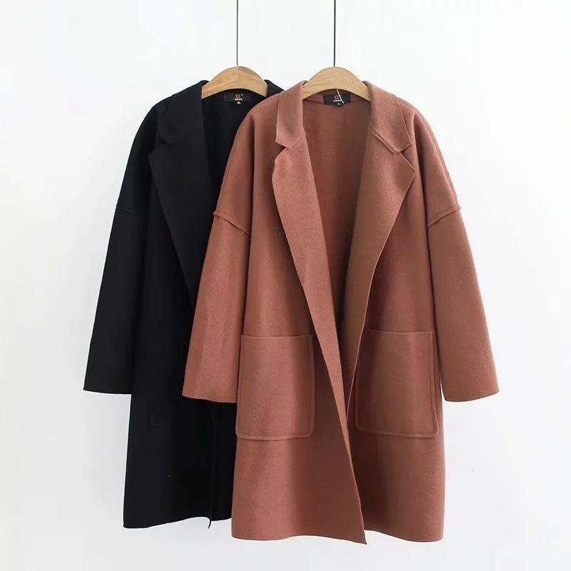 E2 Large Size Dress 2019 Fall And Winter Clothes New Style Fat Mm Slimming Single Side Duffle Coat 1003