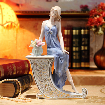 Porcelain Girl Statue Ceramic Palace Western Woman Figure Handicraft Orn Accessories Home Decor and Valentine's Day Gift R2257