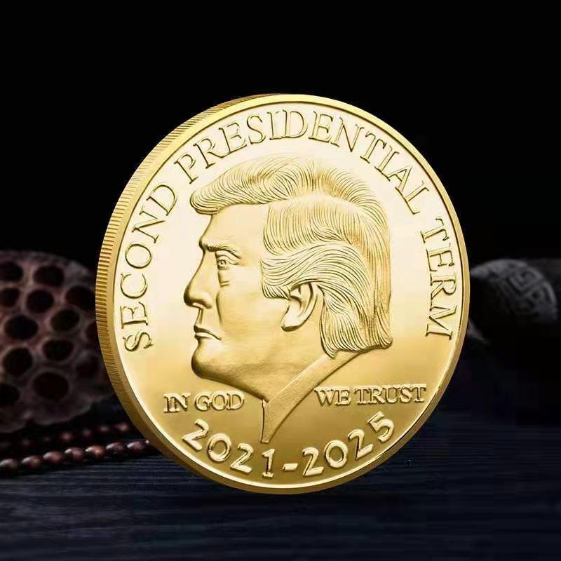 Второй срок президентской службы (2021-2025), Дональд Трамп, коллекционная Золотая и серебряная монета, сувенирная монета, памятная монета