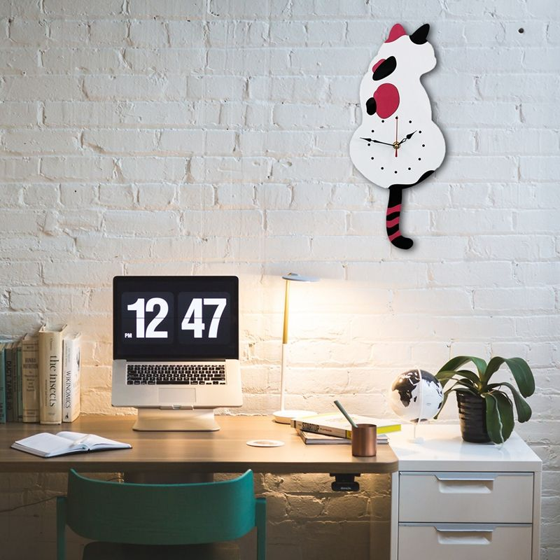 3D Cute Cat Wall Clock Wag Tail Silence Home Decoration Kids Gift White