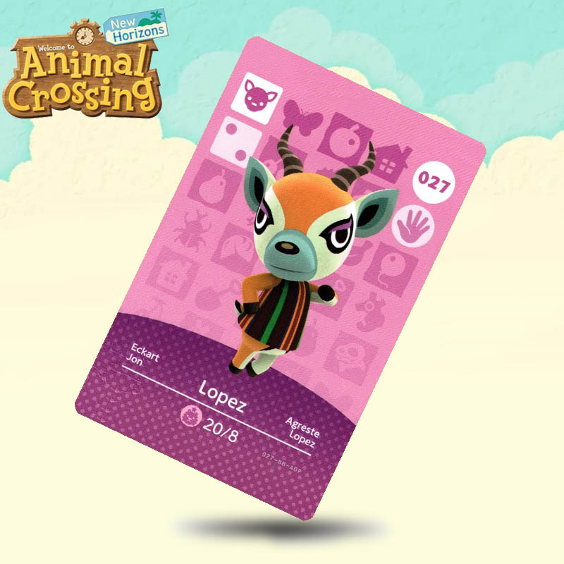 027 Lopez  Animal Crossing Card Amiibo Cards Work For Switch NS 3DS Games