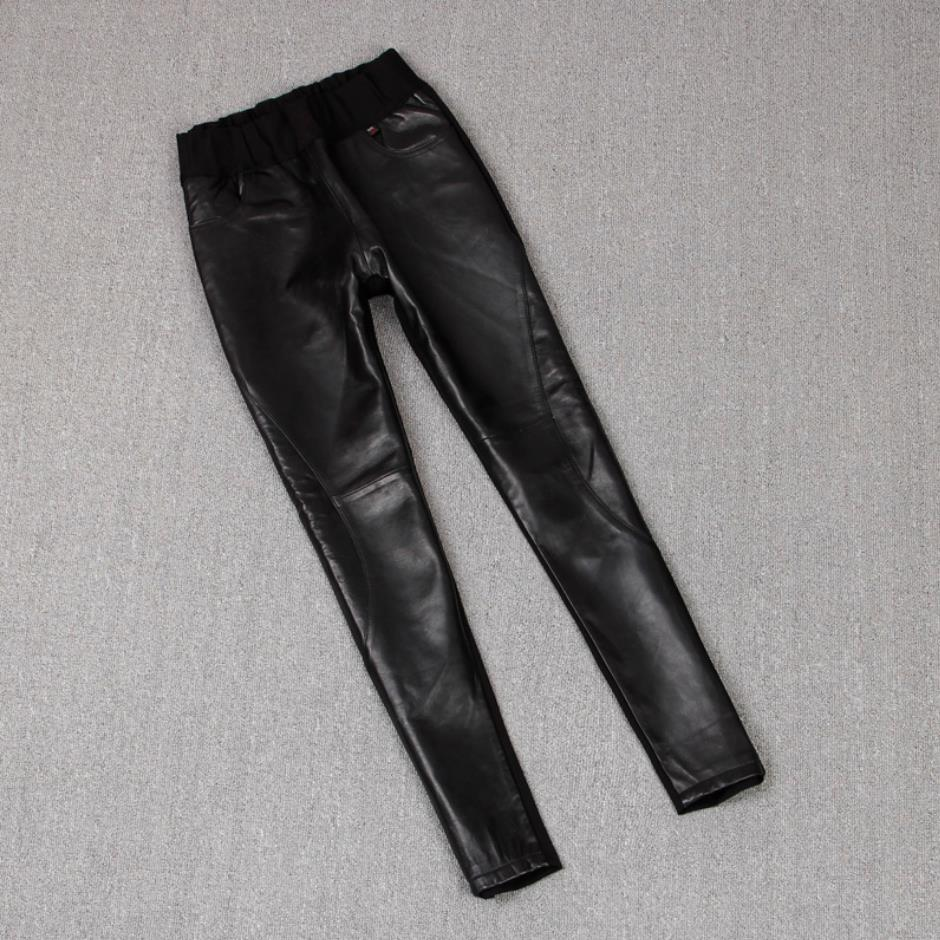 England Style Great Quality Real Sheep Leather Full Length Pants Spring Female High Waist Was Thin Pencil Leather Pants F1002