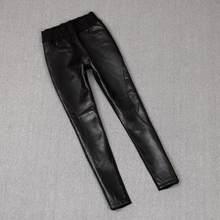 Inglaterra estilo de alta qualidade real ovelhas couro comprimento total calças primavera feminino cintura alta era fino lápis calças de couro f1002