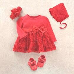 Bebê recém-nascido vestido da menina vestido de bebê roupas de bebê 0-3 meses de festa de casamento roupas de aniversário 0-1 anos vestido sapatos definir batismo