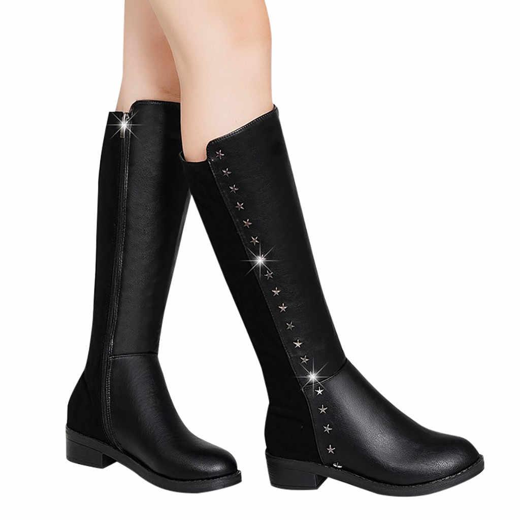 Mode Pure Kleur Kniehoge Lange Laarzen Leer Zwart Ronde Neus Slip-On Laarzen Chunky Hakken Vintage Vrouwen pluche Binnenzool Snowboots