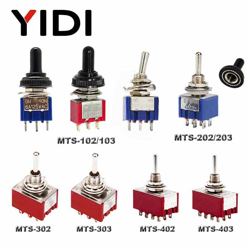 6A 125VAC Mini 6 Mm MTS 102 103 202 203 302 303 402 403 Toggle Switch On Off SPDT Buah on Off Di 3PDT dengan Tahan Air Cap