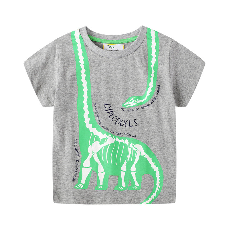jumping meters Baby Boys Cartoon T shirt Kids New Tees Short Sleeve Summer Clothes With Printed Dinosaurs Top Children T shirts 19