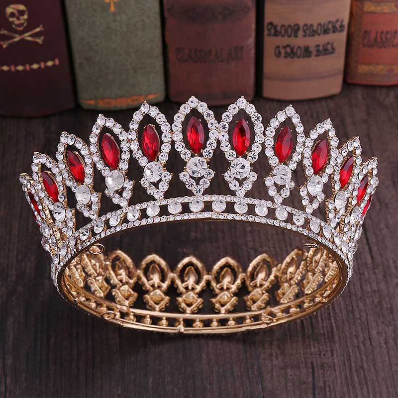 Image 2 - High Fashion Full Round Baroque Gold Blue Crystal Royal Princess Queen Diadem Tiaras Crowns for Bridal Bride Wedding PartyHair Jewelry   -