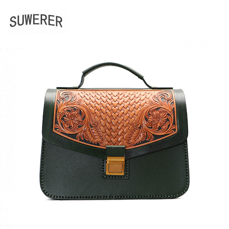 SUWERER 2020 New Hand carved real cowhide bag women Genuine Leather bag Luxury handbags women famous brand leather bag fashion