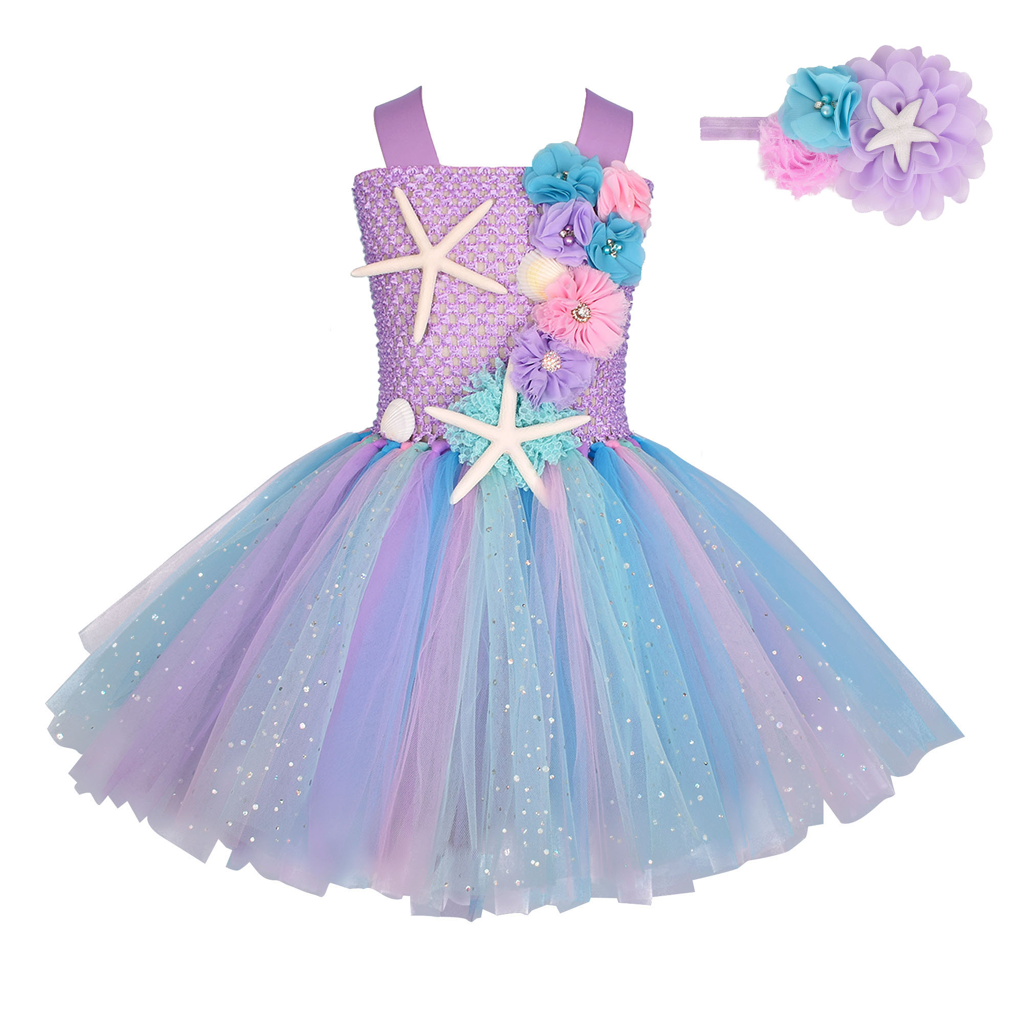 Girls Pastel Mermaid Princess Dress With Headband Sets Baby Girl Birthday Party Costume Floral Tulle Dress Cosplay Clothes