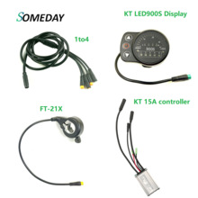 KT 36v 48v 15A controller with KT LED/LCD display FT-21X thumb throttle 1to 4 cable