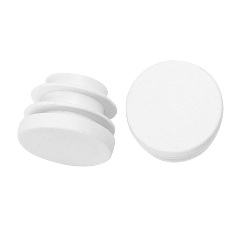 White Plastic Blanking End Caps Round Tube Insert Plug Bung 12Pcs
