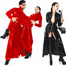 Red Black Latex Catsuit PVC Leather Catsuit The Matrix Costume Gay Latex Costume Stretchable Spandex Patent Leather Long Coat()