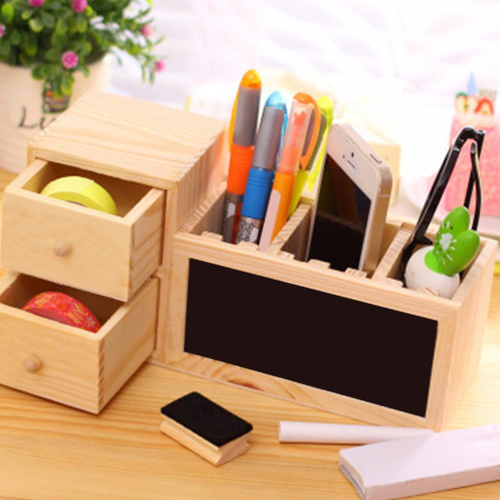 Multifunctional Wooden Office Organizer With Drawer Pencil Holder Blackboard Message Board Penholder