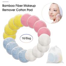 16PCS Reusable Bamboo Fiber Makeup Remover Cotton Pad Washable Eyeshow Nail Art Face Cleaning Pads Dropshipping