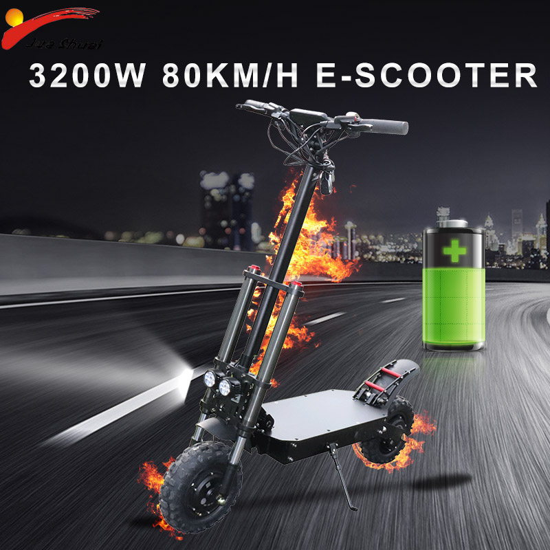 80KM/H Powerful E Scooter <font><b>60V</b></font> 3200W Electrico Hub Motor 35A <font><b>Samsung</b></font> Battery Electric Scooter Adult Folding Longboard Skateboard image