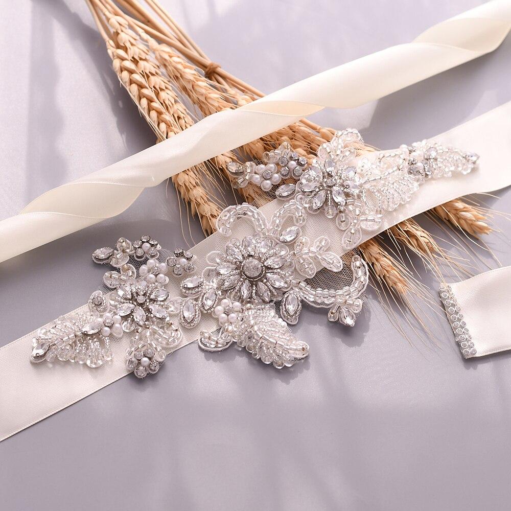 TRiXY S139 Rhinestones Belt Beading Wedding Belt Silver Diamond Belt Bridal Sash Wedding Dress Accessory White Embroidered Belt
