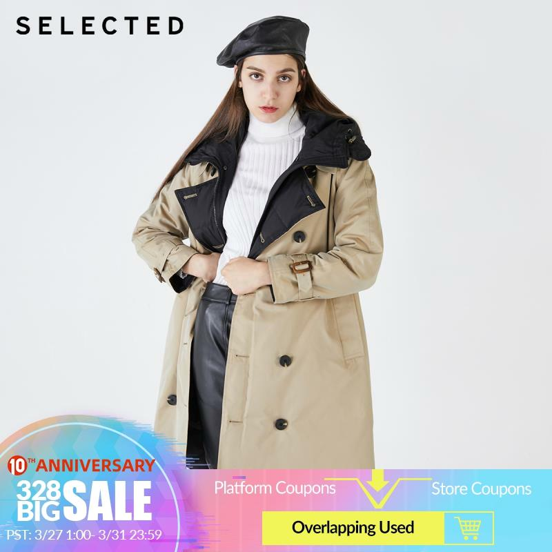 SELECTED Women's Double-breasted Double-faced Hooded Down Jacket S|419412552