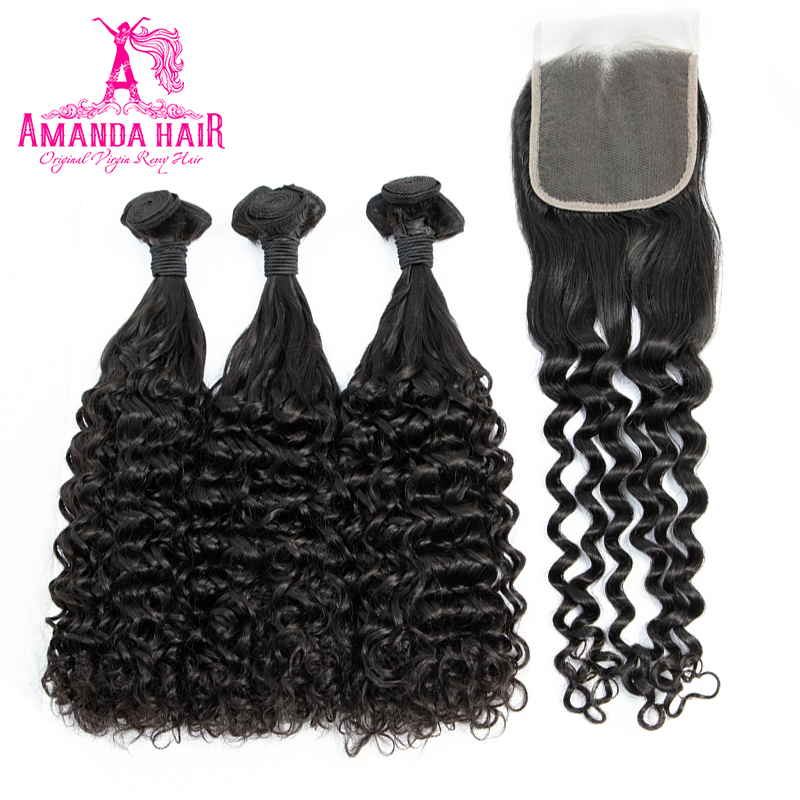 Amanda Double Drawn  with Closure 4x4 Funmi Deep Curly  Virgin Hair Bundles With Closure  6
