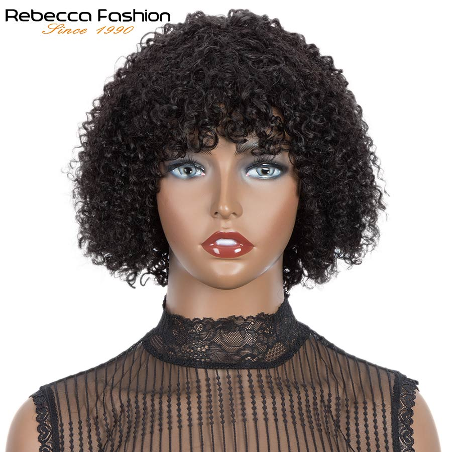 Rebecca Curly Human Hair Bob Wig With Bangs Short Curly Wig Full Wig For Women Remy Pre Plucked Brazilian Wig Ginger Human Wig