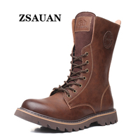 ZSAUAN Men High Knee Boots Cow Split Leather Top Class Long Boots Casual Middle Tube Male Motorcycle Boot Combat Height Increase