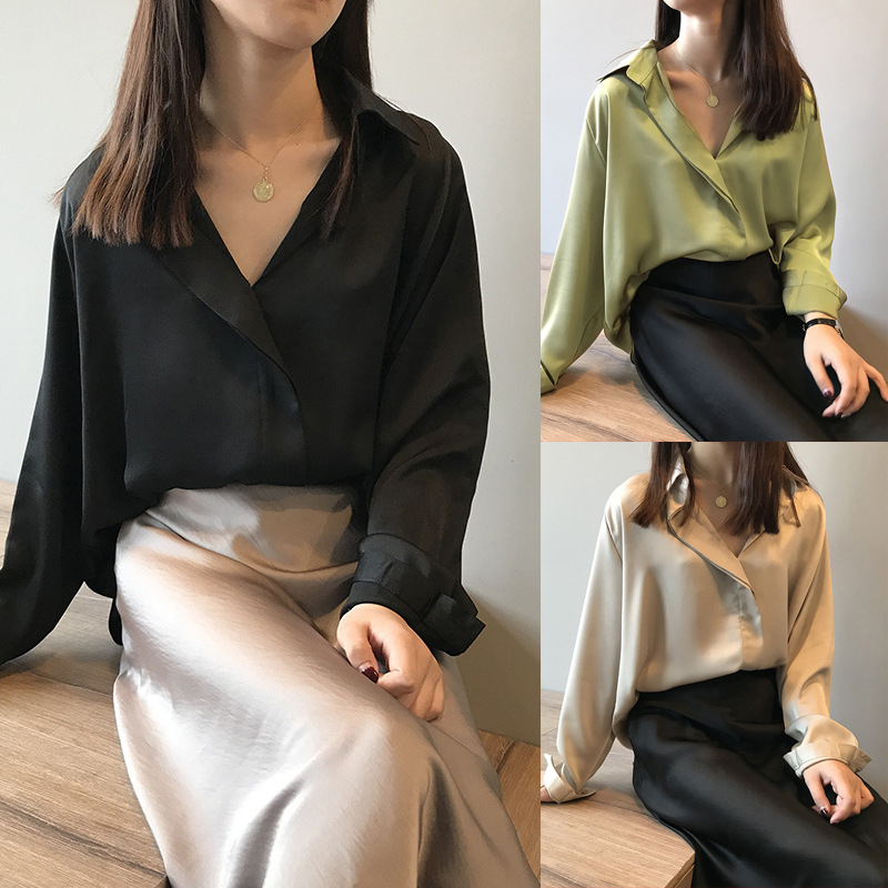 2020 New Summer Shirt Women Casual Solid Color Long Sleeved Stitching Lapel Chiffon Shirt Top Casual High Quality Women Clothing