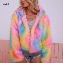 Rainbow Fur Coat 2019 Fashion Hooded Faux Fur Jacket Warm Fleece Tie dyeing Jacket Fluffy Jackets Streetwear Party Coat Women faux shearling hooded coat