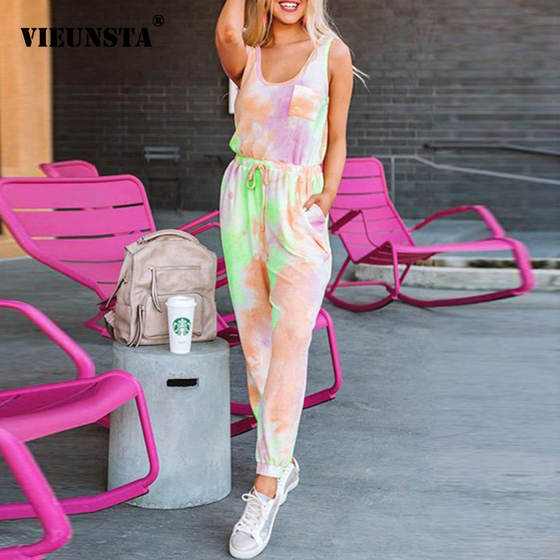 Summer Two Pieces Tie Dye Women Set Sexy O Neck Sleeveless Shirt And Drawstring Long Pants Suits Elegant Pocket Casual Tracksuit