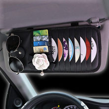 Hot Car Styling Camellia Flower Car CD Holder Disc Leather Storage Case Sunglasses Card Organizer Sun Visor Sleeve Wallet Clip(China)