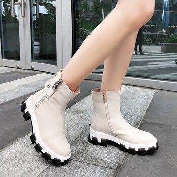 2019 Genuine Leather Women snow Boots winter warm women ankle Boots flat platform Femal Shoes black gray big size 33-43