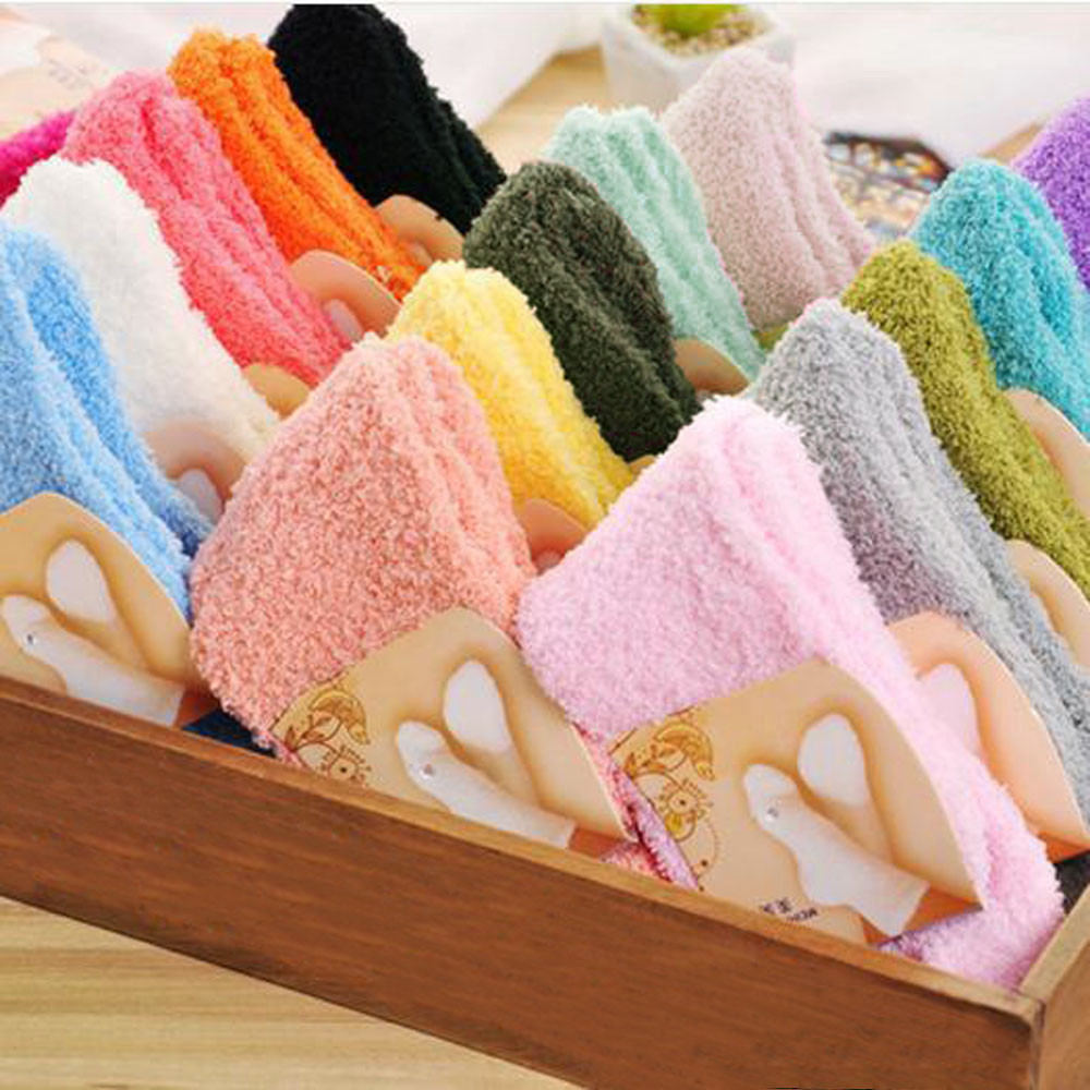 Fluffy Home Floor Sock Women Girls Socks Winter Warm Soft Confortable Casual Mid Socks Solid Candy Coral Velvet Fashion Gifts
