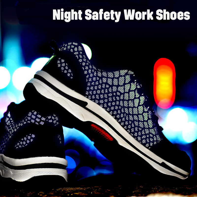 Men's Night Safety Work Steel Toe Shoes Reflective Light Working Boots Running Breathable Light Weight Comfortable