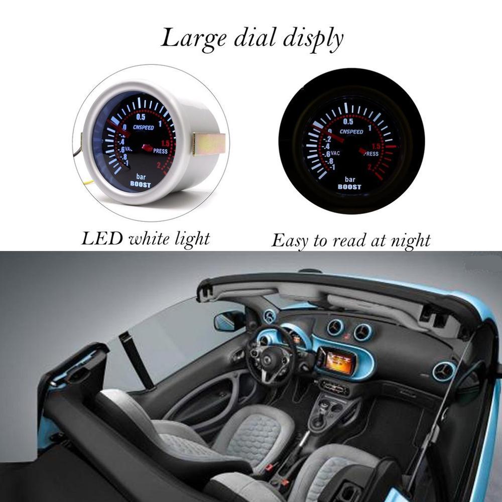 CNSPEED YC101310 Digital Universal 52mm Car Turbo Boost Vacuum -1~2 BAR Gauge Press Pressure Gauge Pointer Meter Smoke Len LED