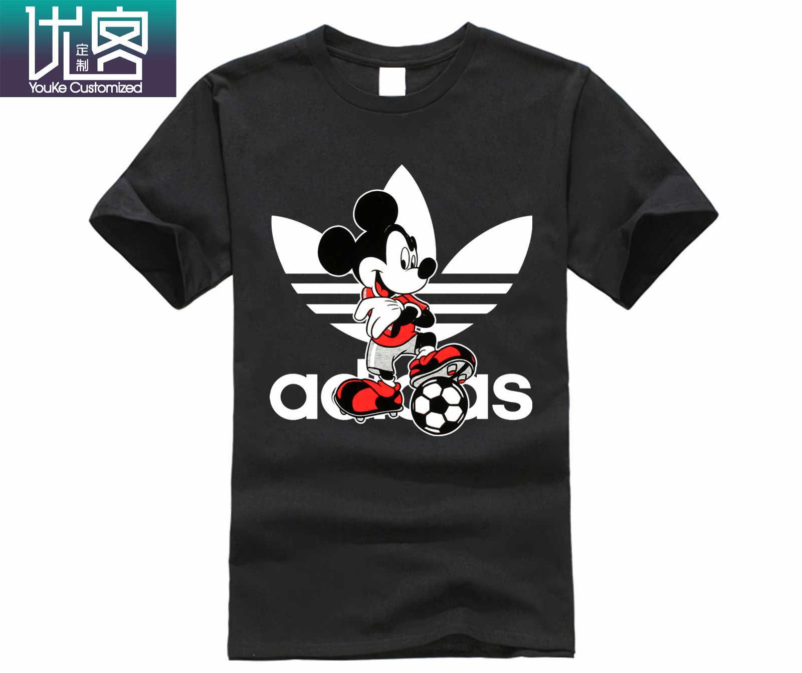 Футболки для футбола с Микки дисном, красивые футболки с принтом Микки для мужчин, крутая хлопковая Футболка с круглым вырезом