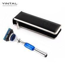 YINTAL New Men Shaving Safety Razor Handle Zinc Alloy Stainless Steel Manual Cartridge Razors Blade Holder With Case