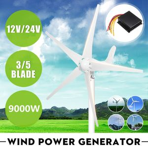 9000W 12V 24V 3/5 Wind Blades Option Wind Power Turbines Generator With Waterproof Charge Controller Fit for Home Or Camping(China)