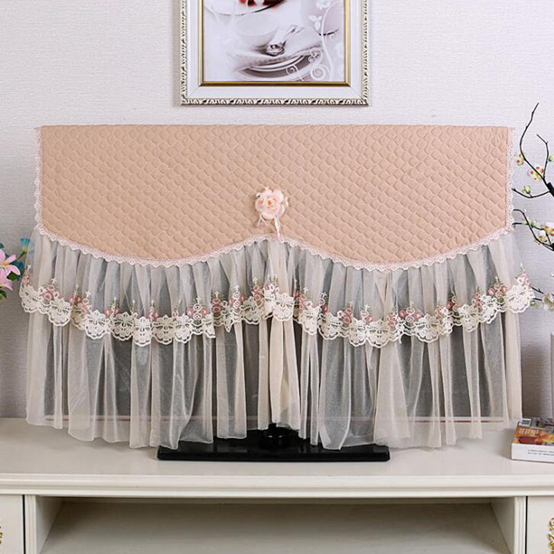 TV Dust Covers Hanging Wall Mounted LCD TV Covers Flower Lace Dustproof Television Covers Household Trades