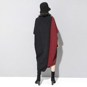 Image 4 - [EAM] فستان حريمي حياكة بألوان متباينة مقاس كبير برقبة عالية وأكمام طويلة وفضفاضة مناسب لربيع وخريف 2020 1D674