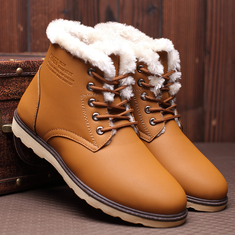 Mazefeng Leather Men Boots Winter With Fur 2019 Warm Snow Boots Men Winter Work Casual Shoes Sneakers High Top Rubber Ankle Boot