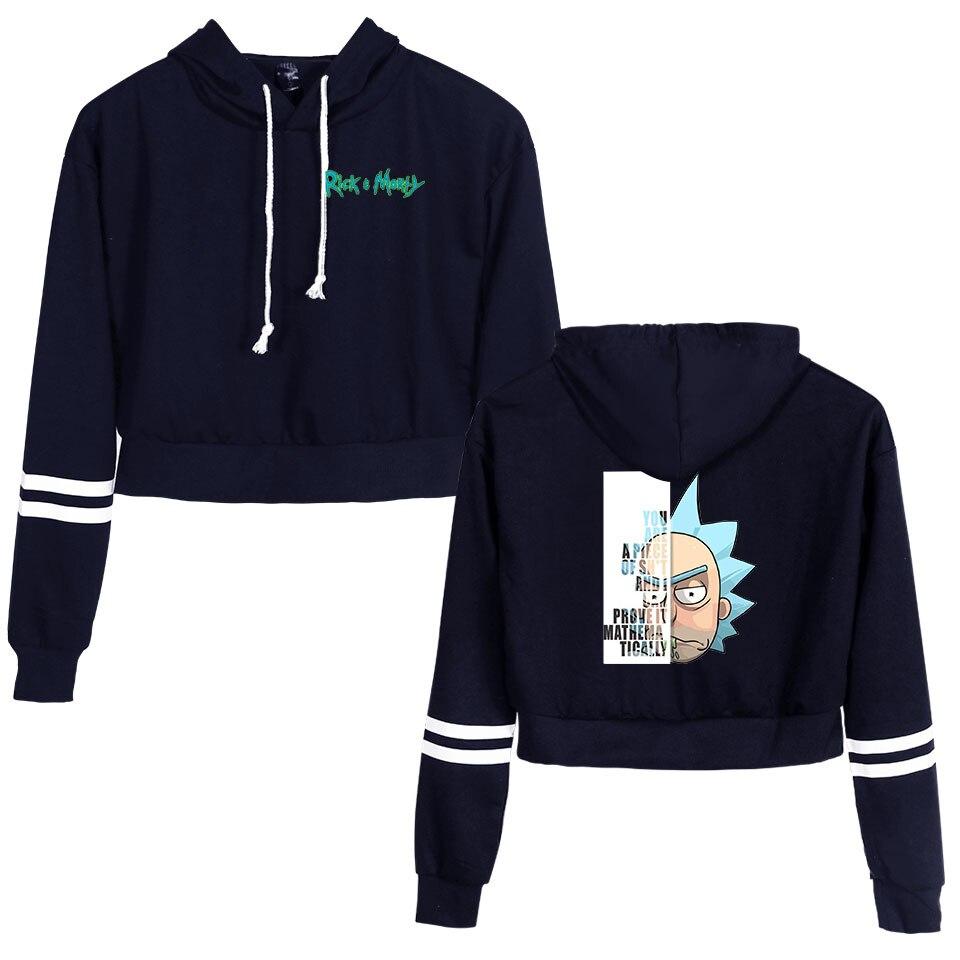 Women Sexy Crop Top Hoodies 2019 Rick And Morty Season 4 Printing Harajuku Spring Hot Sale Casual Hoodies Sweatshirts Plus Size