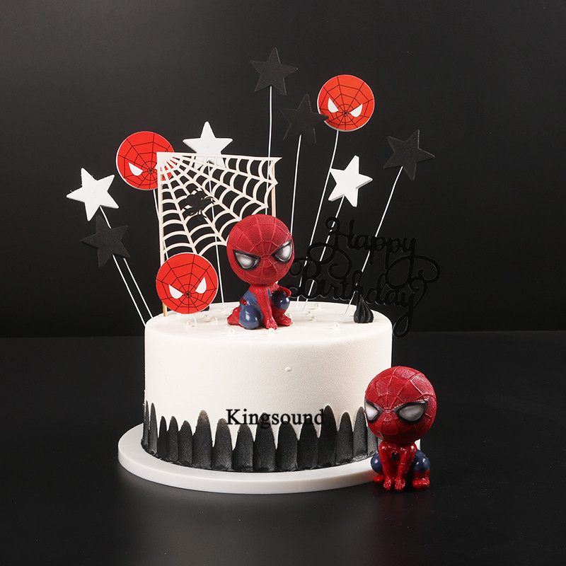 Spiderman homecoming figura de acción juguetes regalos para decoraciones de fiesta de cumpleaños niños bebés spiderman muñecas cupcake toppers Lámpara LED de tira de seta de 2 metros y 30 pulgadas con caja de batería, Lámpara decorativa para fiestas de jardín, cable en miniatura para el hogar, regalo para niños