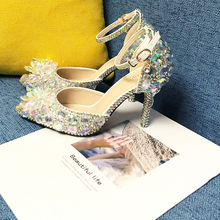 Thin Heel Shoe Wedding-Shoes Crystal Bridal Silver Party-Dress Pointed-Toe Big-Size Woman