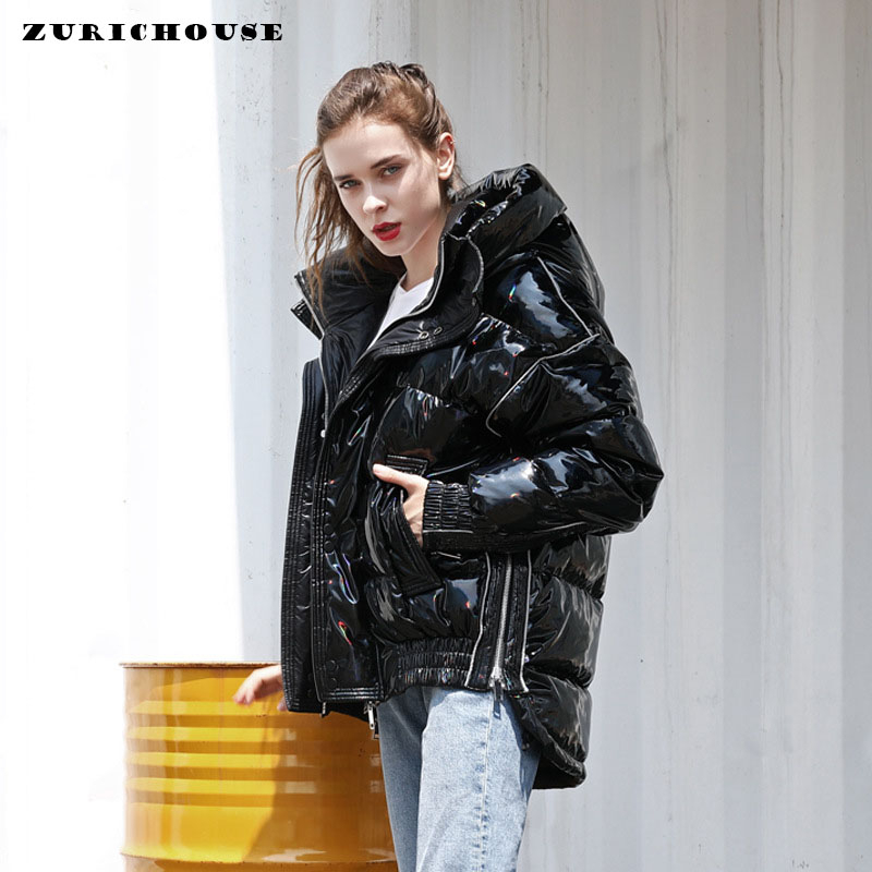 ZURICHOUSE Brand Women's Duck Down Jacket Winter Hooded Parka 2020 Couple Series Fashion Loose Warm Glossy Black Laser Down Coat