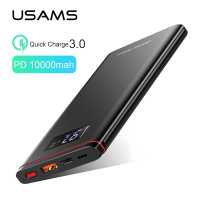 Quick charge Power Bank,USAMS 10000mah PD fast Charge Power Bank QC 3.0 PowerBank Type C USB Charger for iPhone Xiaomi 9 Samsung