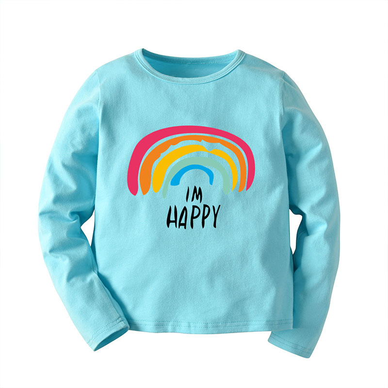 Autumn Baby Girl Long Sleeve T Shirts Kids Rainbow Letter Printed Tops Tees Casual Blouse in T Shirts from Mother Kids
