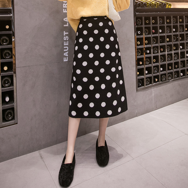 Photo Shoot 2019 Autumn And Winter New Style Korean-style Slimming Thick Mid-length Core-Spun Yarn Polka Dot Yarn Knitted Skirt