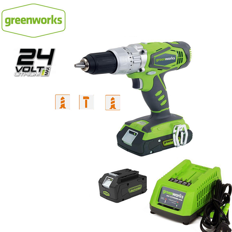 Greenworks 24V Double Speed Electric Screwdrvier 60N.m  Impact Cordless Drill Rechargeable Household Power Tools Free Return