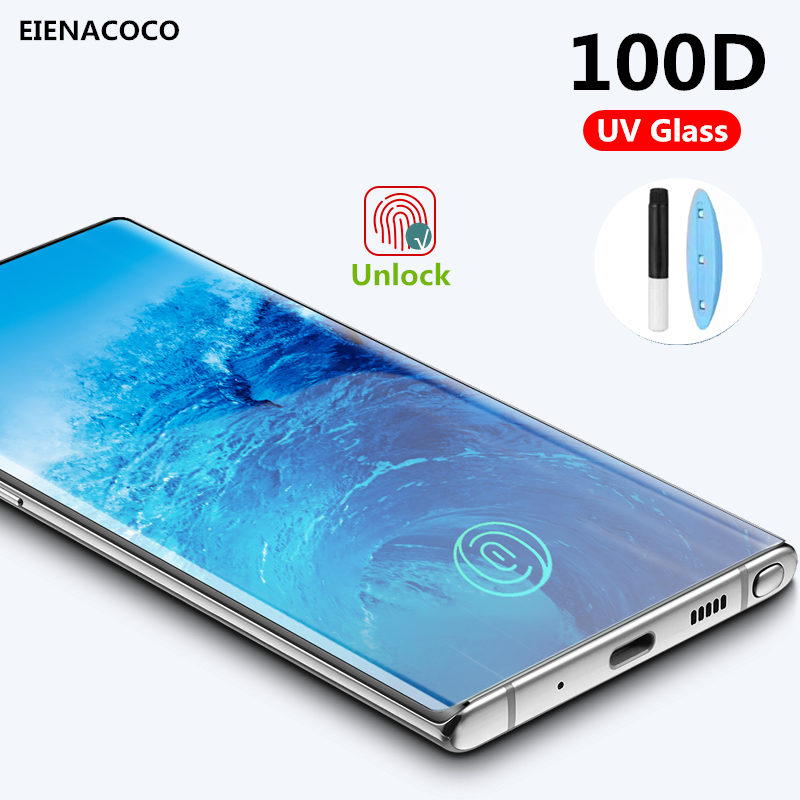 100D Curved UV Tempered Glass For <font><b>Samsung</b></font> Galaxy S10 S10e <font><b>S9</b></font> S8 Note 8 9 10 Plus S7 Edge Full Liquid Glue Glass Screen <font><b>Protector</b></font> image