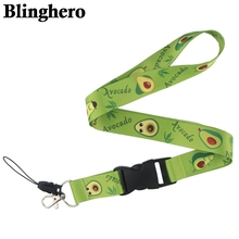 CA95 ремешки с фруктами авокадо для брелка для ключей, ID карты, для мобильного телефона, USB держатель для бейджа, 1 шт